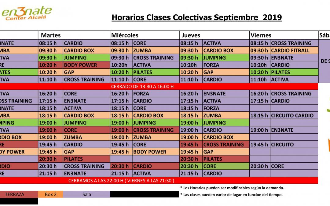 Actualizamos nuestro horario de ACTIVIDADES en SEPTIEMBRE con las nuevas clases de ZUMBA por las tardes