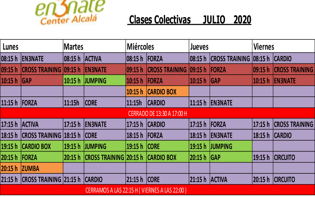 Horario de ACTIVIDADES – JULIO 2020