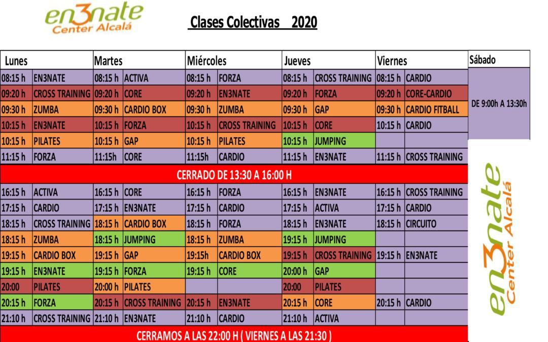 Horario de Actividades y Clases Dirigidas de En3nate Center Alcalá – A partir del 14 de septiembre de 2020