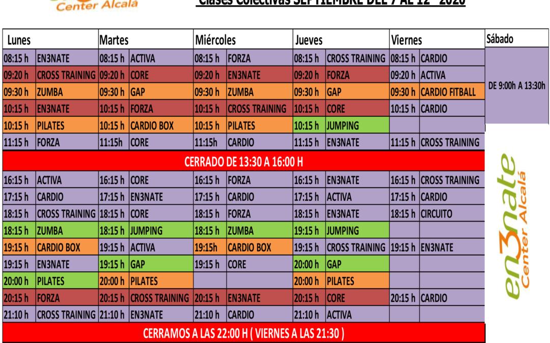 Horario SEPTIEMBRE DE 2020 – Del 7 al 12 de Septiembre